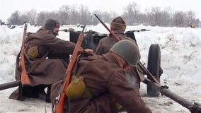 Village Sokolovo, Kharkiv region, Ukraine - March 9: Reconstruction of the Battle of the Second World War near the stock footage