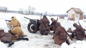 Village Sokolovo, Kharkiv region, Ukraine - March 9: Reconstruction of the Battle of the Second World War near the stock video footage