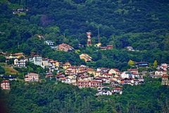 Someraro village on the hillside of Lago Mggiore Italy stock photography