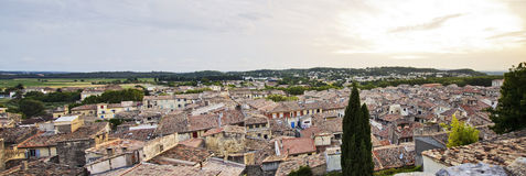 Village of Sommièrs France. Romantic village of Sommièrs France during sunset stock photo