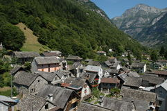 The village of Sonogno on Verzasca valley Stock Image