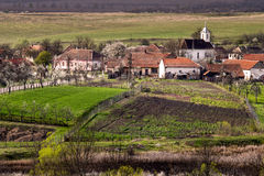 Village at spring. Landscape of a village from Romania, during spring time Stock Photography