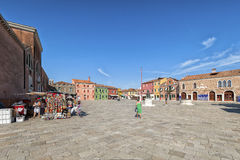 Village square on Burano island, near Venice, Italy. Royalty Free Stock Photos