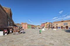 Village square on Burano island, near Venice, Italy. Royalty Free Stock Photos