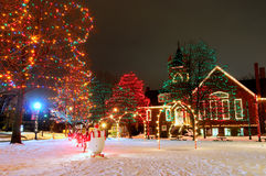 Village square Christmas. A brightly lit small-town Christmas display on the village square Stock Photo