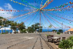 Village square with garland decoration at Madeira Island Stock Photography