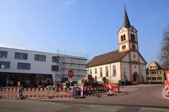 Village square Sandweier. Village sqaure sandweier with church st. katharina under construction Stock Photography