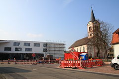 Village square Sandweier. Village sqaure sandweier with church st. katharina under construction Stock Photos