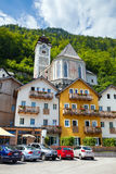 Village square with typical colorful houses in Hallstatt Royalty Free Stock Images
