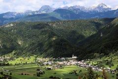 Village Srednja vas in Bohinj. Village Srednja vas in Slovenia with Julian alps in background Royalty Free Stock Photography