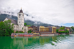 Village St. Wolfgang on the lake Austria stock photography