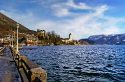 Village St Wolfgang on the lake Wolfgangsee at winter Royalty Free Stock Photo