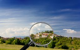 Village of Stanjel under the Magnifying Glass stock images