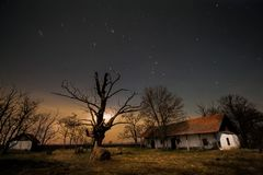 Village. Stars night sky cold darl Royalty Free Stock Photos