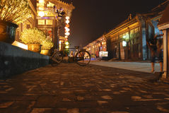 Village street, China. Night scene in an old village street in eastern china Stock Image