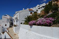 Village street, Frigiliana, Spain. Royalty Free Stock Image