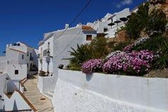 Village street, Frigiliana, Spain. Typical street in a whitewashed village, Frigiliana, Malaga Province, Andalusia, Spain, Western Europe Royalty Free Stock Image