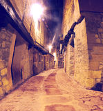 Village street at night royalty free stock photos
