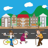 Village street people internet addiction Stock Image