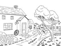 Village street road graphic black white landscape sketch illustration. Vector Royalty Free Stock Images