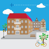 Village street view vector Royalty Free Stock Image
