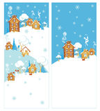 Village street in winter two banners Royalty Free Stock Photo