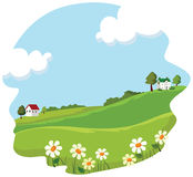 Village summer landscape. Vector illustration Royalty Free Stock Image