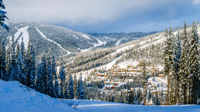The village of Sun Peaks viewed from the ski slopes of Mount Morrisey Stock Photos