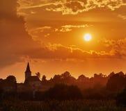 Village at sunset Stock Image