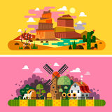 Village sunset landscapes. Landscapes of America, Wild West. Vector flat illustrations and backgrounds Royalty Free Stock Photo