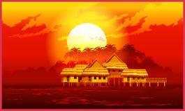 Village at sunset Royalty Free Stock Image