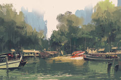 Village sur la banque de la rivière illustration libre de droits