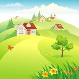 Village sur les collines illustration stock