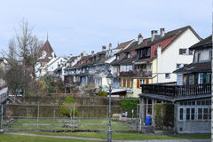 The village of Sursee on Switzerland. Sursee, Switzerland - 4 March 2017: medieval houses of the village of Sursee on Switzerland stock image