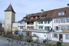 The village of Sursee on Switzerland. Sursee, Switzerland - 4 March 2017: medieval houses of the village of Sursee on Switzerland Stock Image