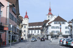 The village of Sursee on Switzerland. Sursee, Switzerland - 4 March 2017: medieval houses of the village of Sursee on Switzerland Royalty Free Stock Photos