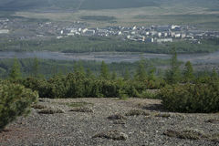 Village Susman. Russia, Magadan region. Village Susman. Top view Royalty Free Stock Image