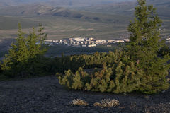 Village Susman. Russia, Magadan region. Village Susman. Top view Royalty Free Stock Photo