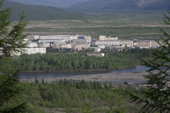 Village Susman. Russia, Magadan region. Village Susman. Top view. Berelekh river Stock Image