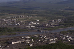 Village Susman. Russia, Magadan region. Village Susman. Top view. Berelekh river Stock Images