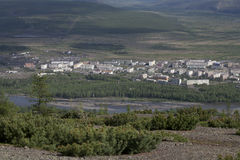 Village Susman. Russia, Magadan region. Village Susman. Top view. Berelekh river Royalty Free Stock Photography