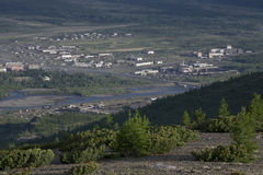 Village Susman. Russia, Magadan region. Village Susman. Top view. Berelekh river Stock Photography