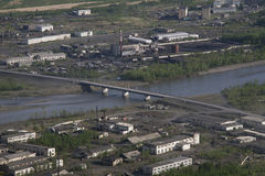 Village Susman. Russia, Magadan region. Village Susman. Top view. Berelekh river Stock Photo