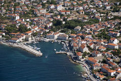 Village Sutivan on island Brac in Croatia, aerial view Royalty Free Stock Photos