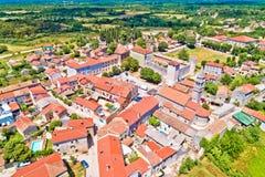 Village of Svetvincenat in inland Istria aerial view. Istria region of Croatia stock photography