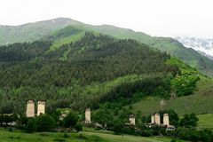 Village in the Swanetia region in Georgia. Watchtowers in villages being in Georgia in the Swaneti area in  the mountains of the Caucasus, UNESCO World Heritage Royalty Free Stock Photos