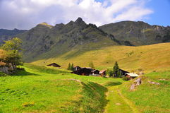 Village in Swiss Alps Stock Photo
