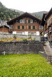Village in the swiss Alps. In a valley with rural houses, in the background are mountains on a cloudy day.It´s a vertical picture Royalty Free Stock Images