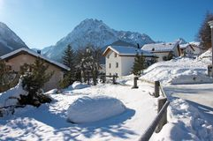 Village in Swiss Alps in winter Royalty Free Stock Images