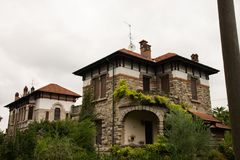 Houses of the department heads of Crespi d`Adda, Bergamo, Italy. royalty free stock photo